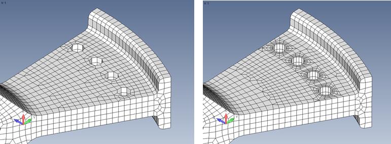 Femapソリッドモデル上のワッシャー周りメッシュ