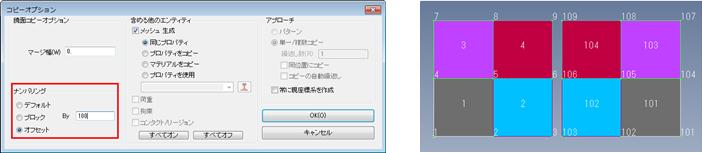 Femapメッシュ付きサーフェスジオメトリの鏡面コピー(ナンバリングは既存IDから100オフセット)