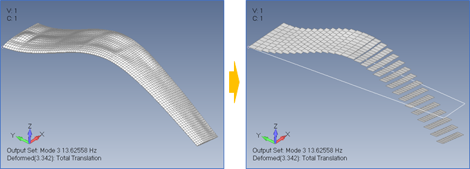Femap2019フラッタ解析から空力メッシュの変形表示