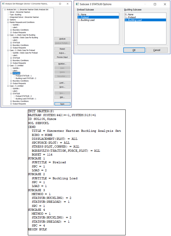 Femap2019Simcenter Nastran SOL 105 (座屈)複数サブケース