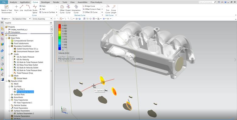 FloEFD v18機能-デザイン検証と生産性向上 曲線に垂直なカットプロット