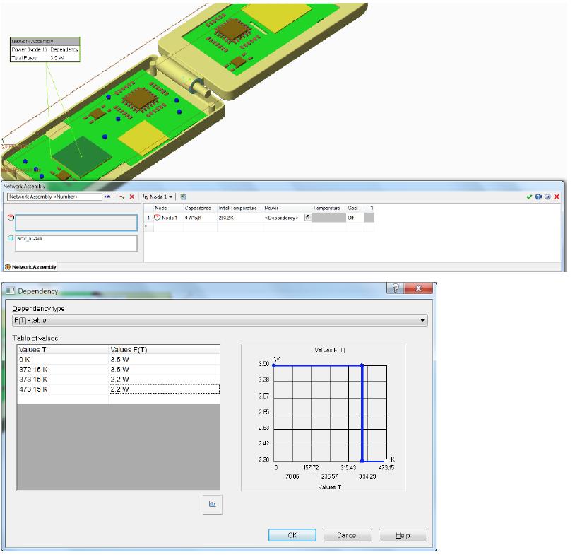 Simcenter FLOEFD v2019 機能-ネットワークアセンブリの熱出力を温度の関数で
