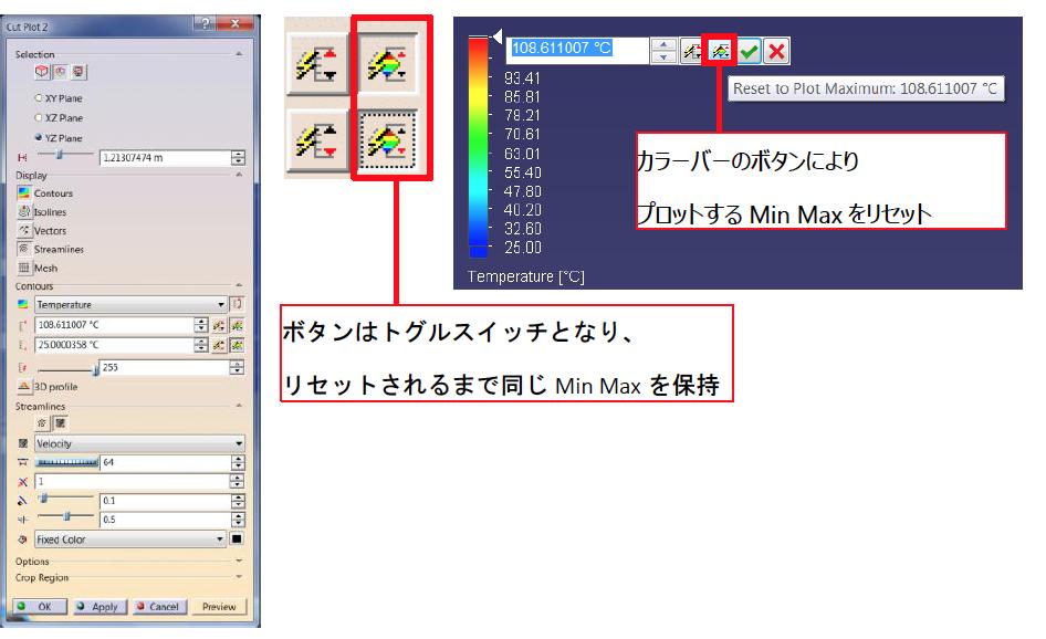 Simcenter FLOEFD v2019 機能-コンター表示におけるスケール統一